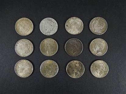 (4) Morgan & (8) Peace Silver Dollars.