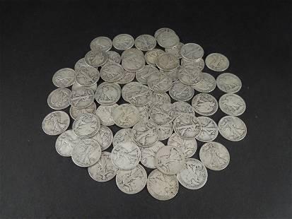 (63) Walking Liberty Silver Half Dollars.