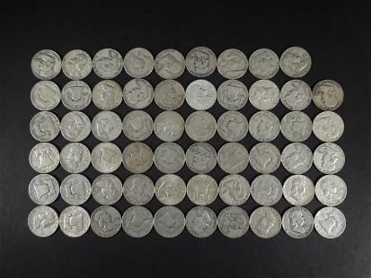 (59) Franklin Silver Half Dollars.