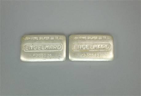 (2) Engelhard 10 Troy Ounce Silver Bars.