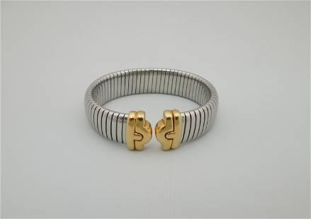 Bulgari Tubogas Steel and Gold Parentesi Bracelet.