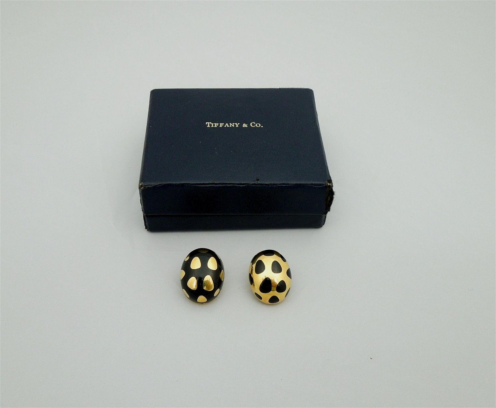 Tiffany & Co. 18K Positive Negative Earrings.