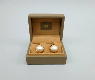 Pair of Cellino Gold Mabe Pearl Earrings.