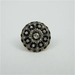 Lady's Antique Sterling Topped Gold Diamond Ring.