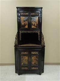 Japanese Hard Wood & Lacquer Corner Cabinet.