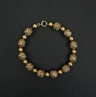 14K Yellow Gold Bead Work Bracelet.