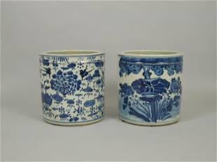 (2) Oriental Blue & White Ceramic Planters.