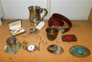 Group of Belt Buckles, Pocket Watch & Silver Plate.