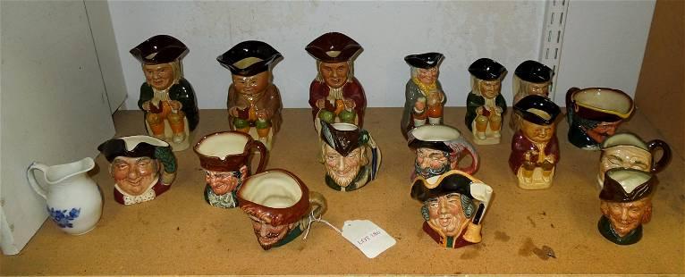 (16) Small Ceramic Toby Jugs & Pitchers.