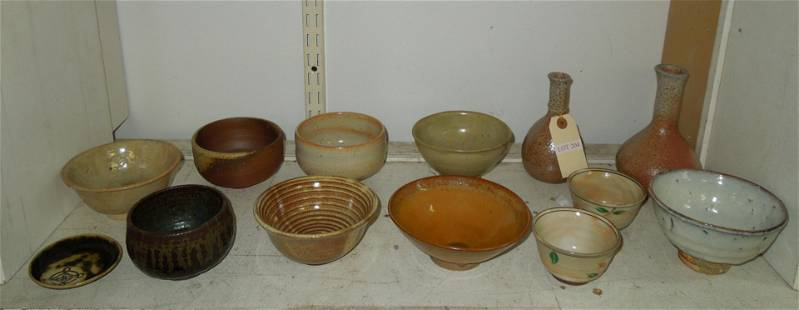 Group of Studio Tea Bowls and 2 Vases.