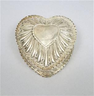 English Sterling Silver Heart Dresser Box.