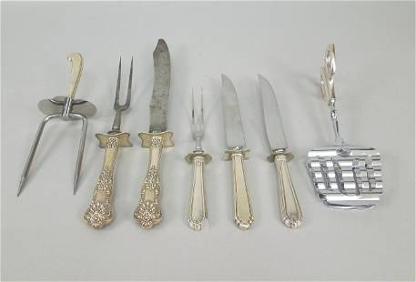 Group Sterling Silver Handled Carving Pieces.