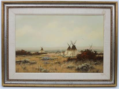 Heinie Hartwig Oil on Board, Teepees at Camp Flats.