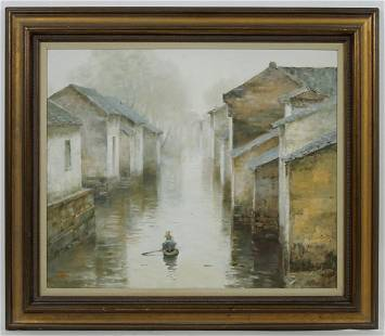 Mei Hong Oil on Canvas, Tranquil Row.