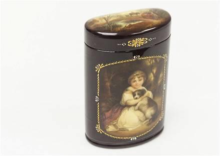 Russian Lacquer Box. Demi Lune Form.