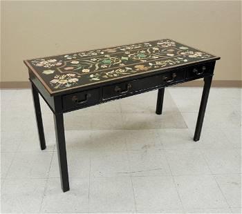 Ebonized Pietra Dura Style Console Table.