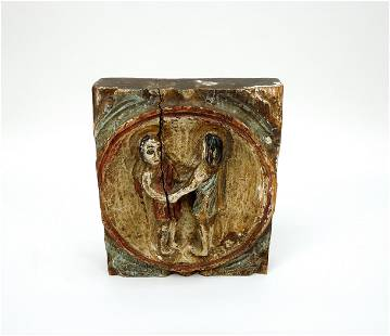 Vintage Spanish Carved Painted Wall Plaque.