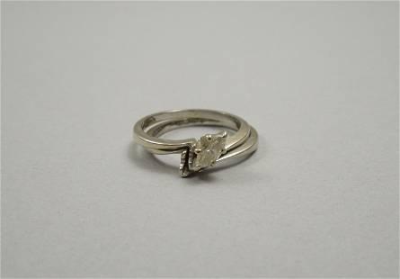 14K Gold & Diamond Engagement Ring & Band.
