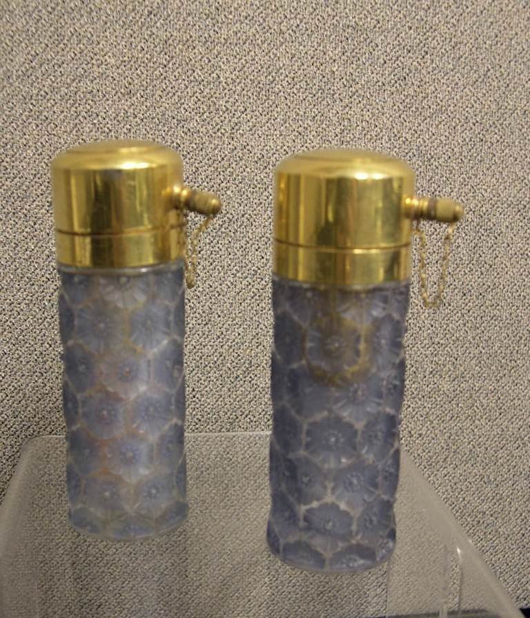 9: A pair of blue Lalique crystal perfume bottles