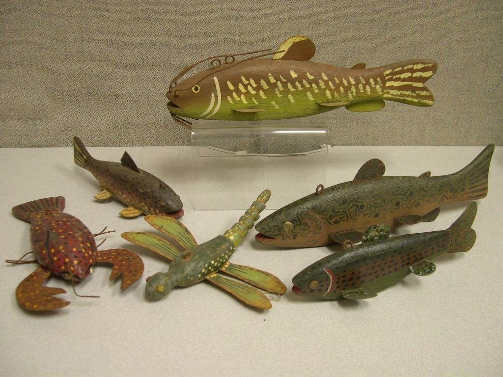 14: (6) Folk Art Ice Fishing Lures