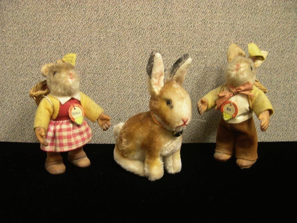 15: 3 Steiff mohair bunnies