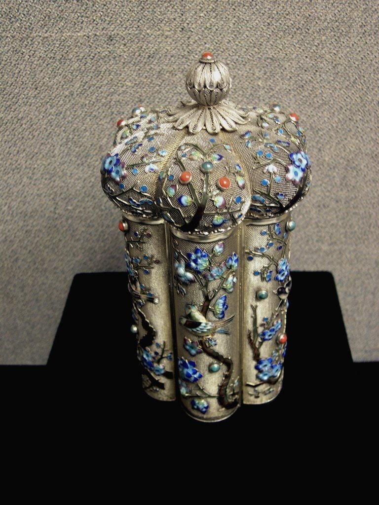 """64: Chinese Silver and Enameled Tea Caddy 7"""""""