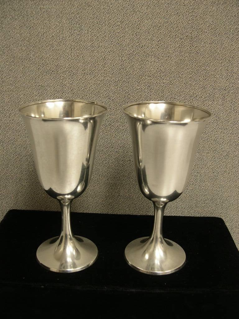 1: (2) Sterling Silver Wine Goblets
