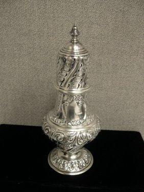 19th C English Silver Sugar Shaker Muffineer