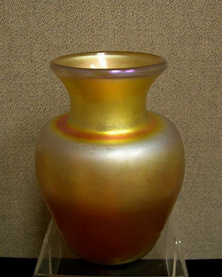 17: Art Glass Vase etched on base L.C. Tiffany