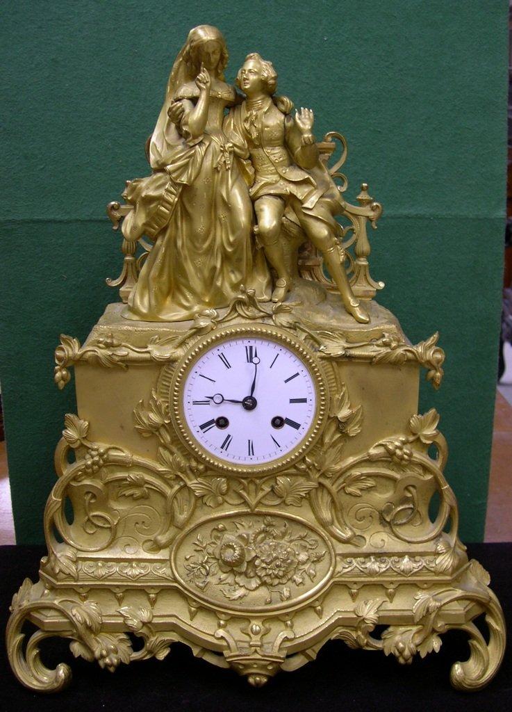 23: Napoleon III Gilt Bronze Figural Mantel Clock