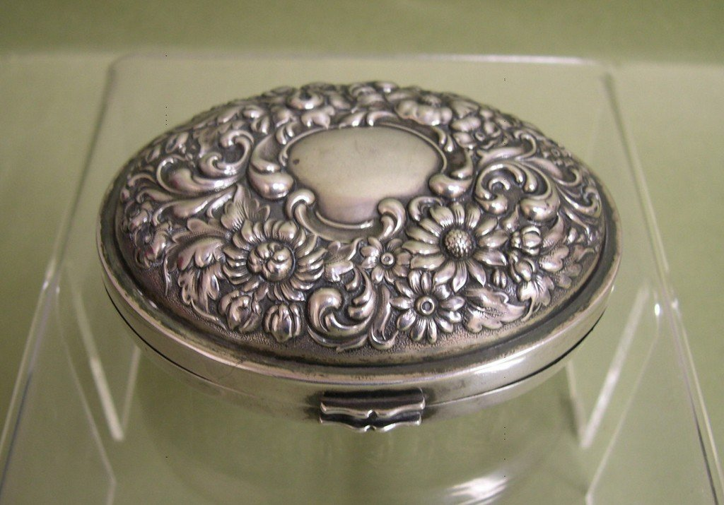 2: Sterling Silver Oval Lidded Box - Simpson Hall Mille