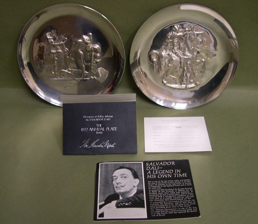 6: (2) Lincoln Mint Sterling Silver Annual Plates DALI