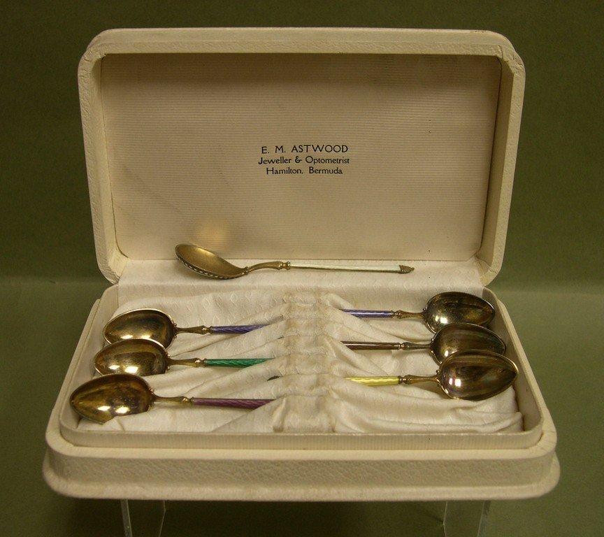 8: Silver Vermeil & Enamel Demitasse Spoon Set