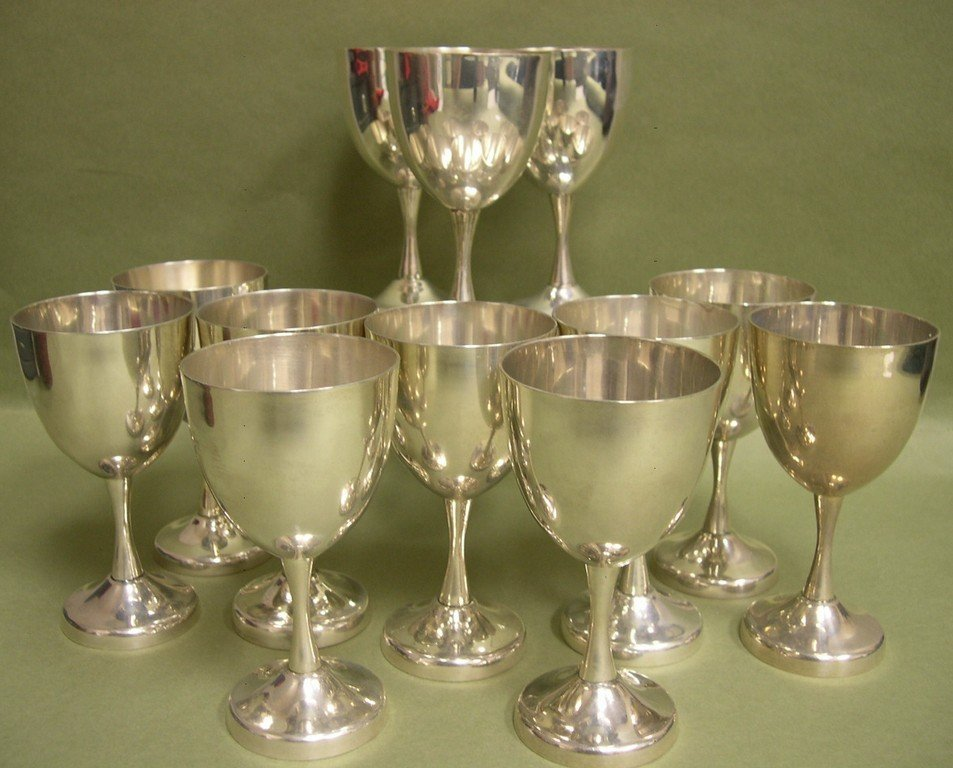 10: 12 Mexican sterling silver Wine Goblets Taxco