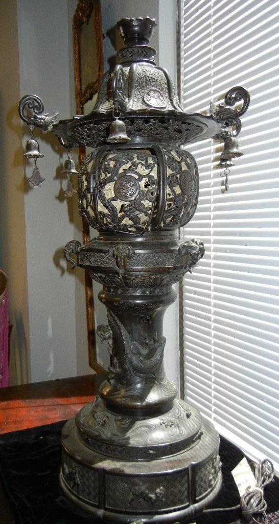 13: Chinese patinated bronze Temple Lantern