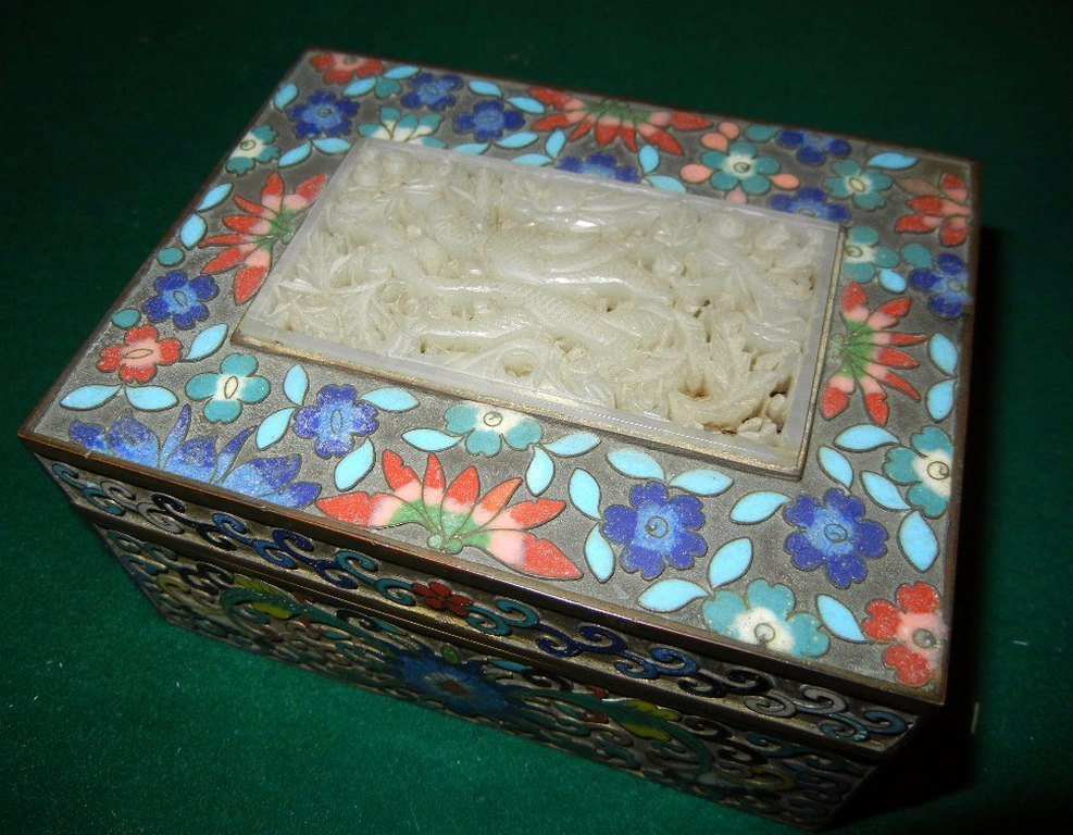 14: Chinese Champleve Enamel Box with Jade Medallion