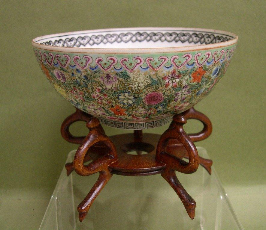 """16: Chinese Eggshell Porcelain Bowl """"1000 Flowers"""""""