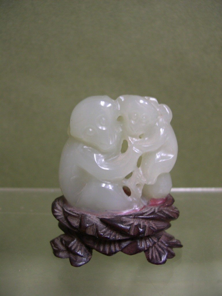 23: Chinese carved Jade figure of two monkeys