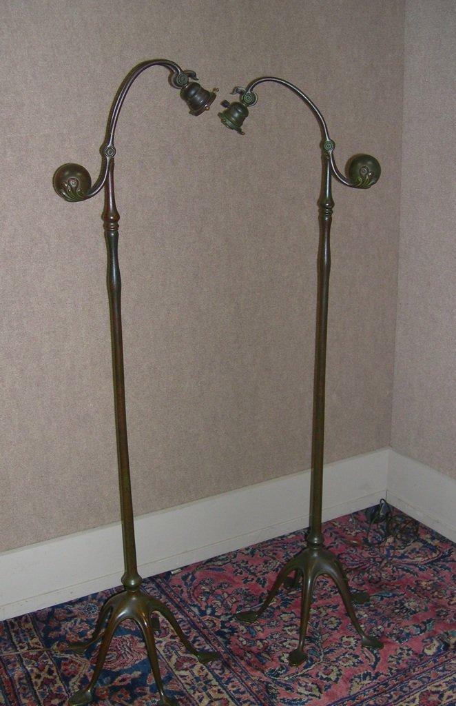 17: Tiffany bronze Floor Lamp, counterweight, #468