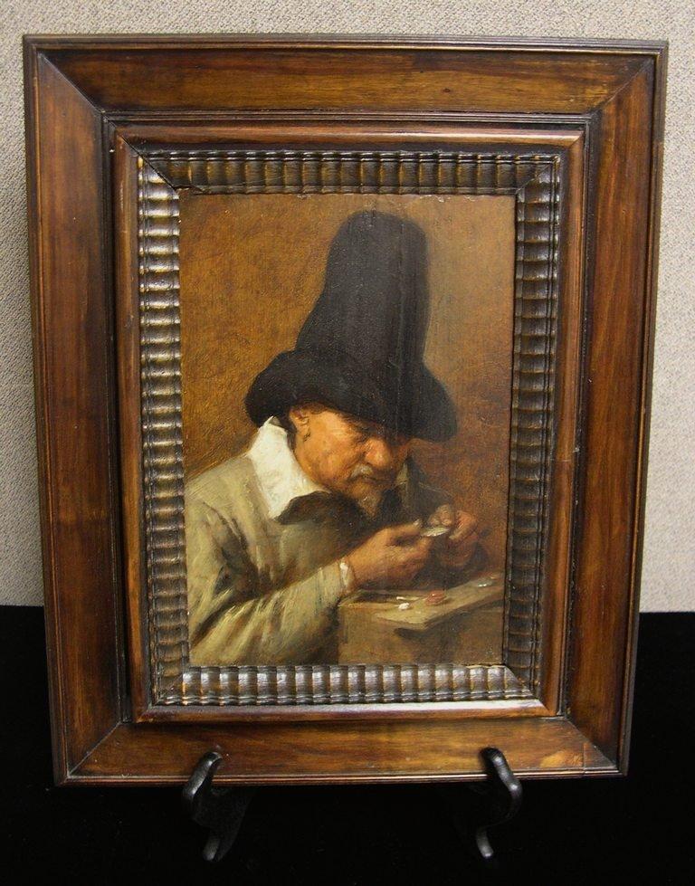 """18: Joos Van Craesbeeck, Oil on Panel """"Man Counting Mon"""