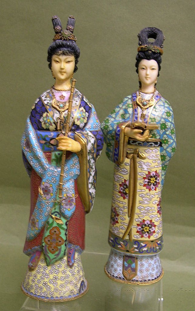 21: Two Japanese Cloisonne Figures, Courtesans