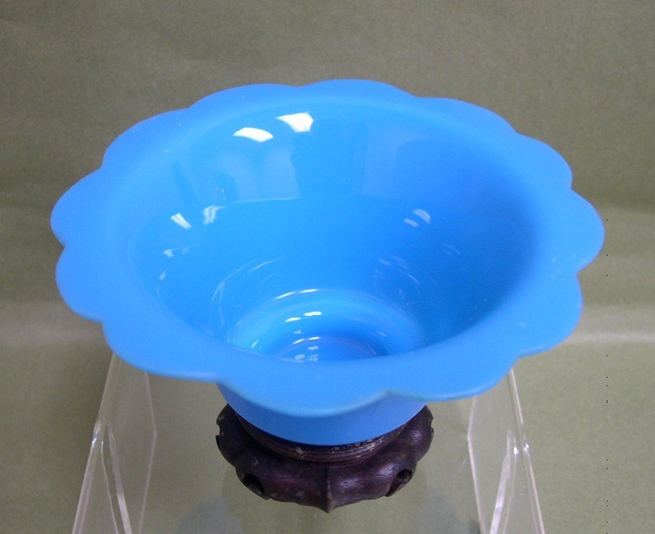20: Chinese Peking Blue Glass Bowl