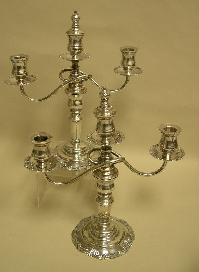 Pair of Sterling Silver 3-arm Candelabra