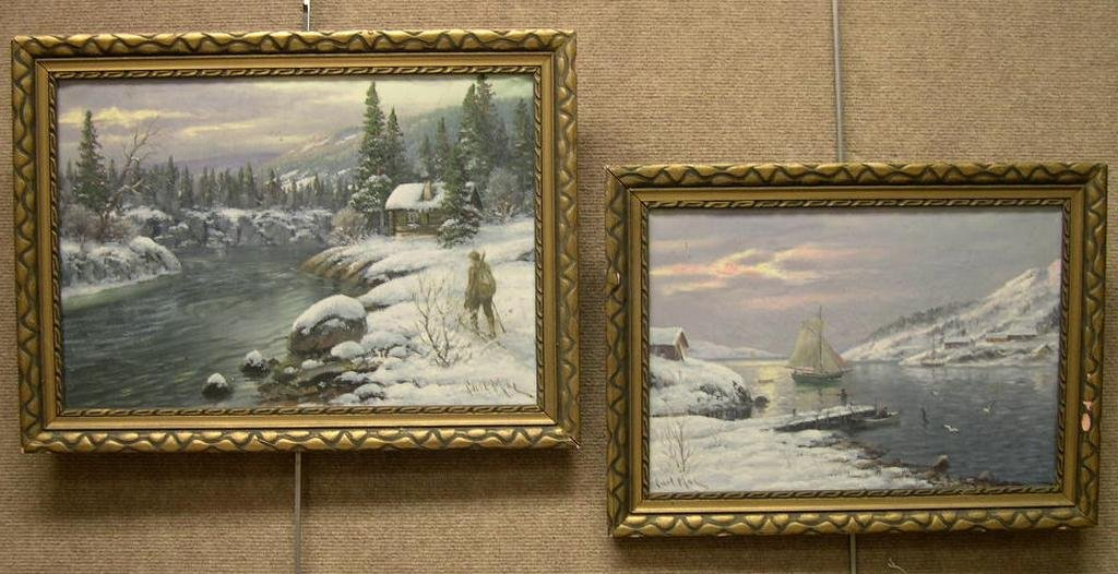 (2) Oil on Canvas by Carl Moe,  Wintry Landscapes