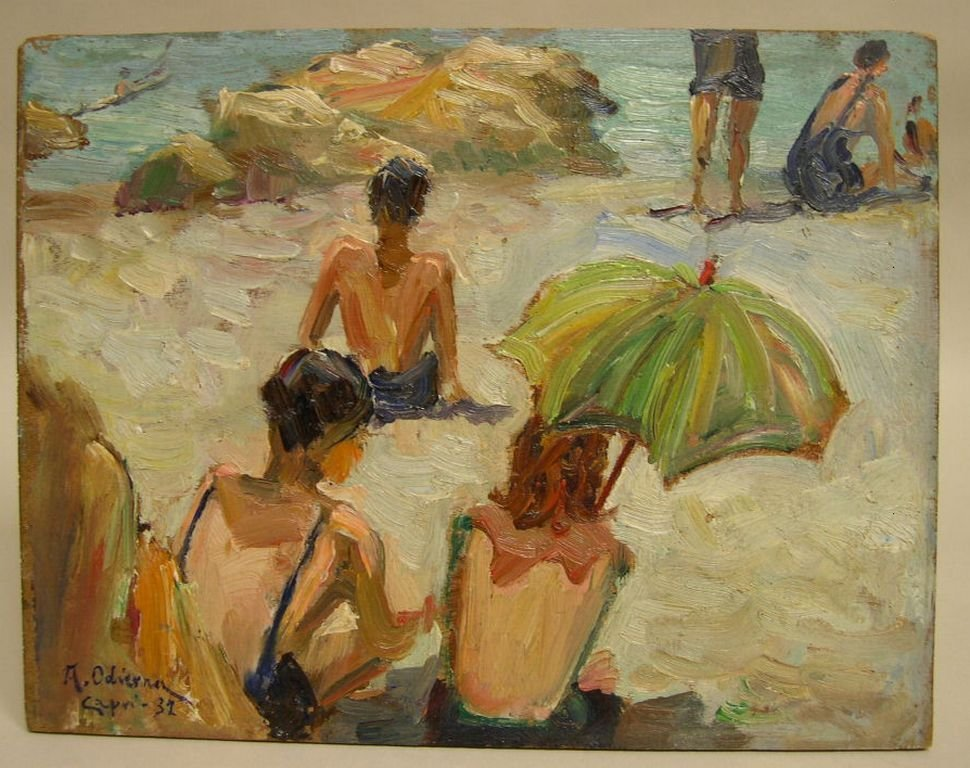 Oil on Board by Antonio Odierna Beach Scene Capri Italy