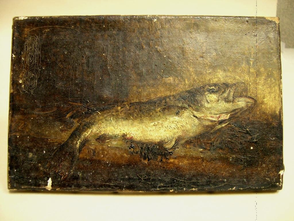 Oil on Canvas by G. Fouace Still Life of Fish,