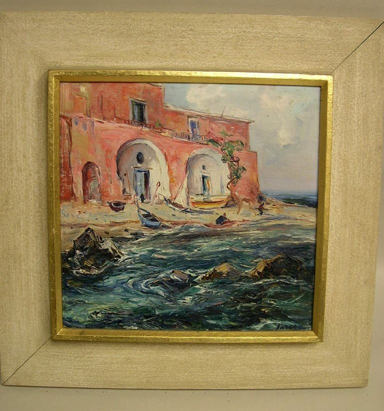 Oil on Panel by Matteo Sarno, Fishing Village