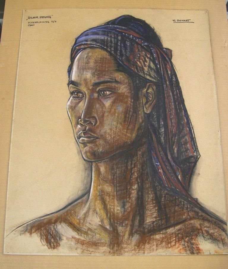 "Pastel by Rudolf Bonnet ""Siloer Begoeg"" 1931 Bali"