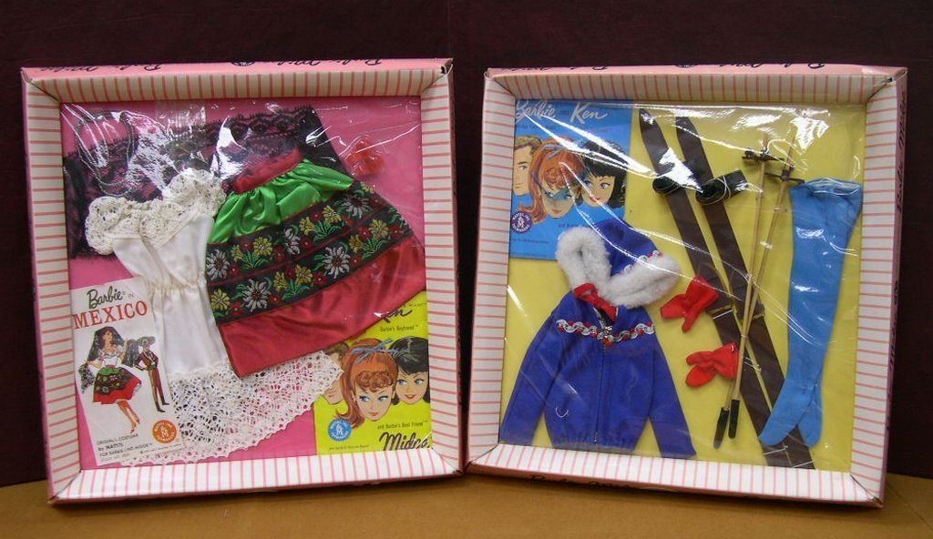 (2) Vintage Barbie Clothing Sets Ski Queen & In Mexico