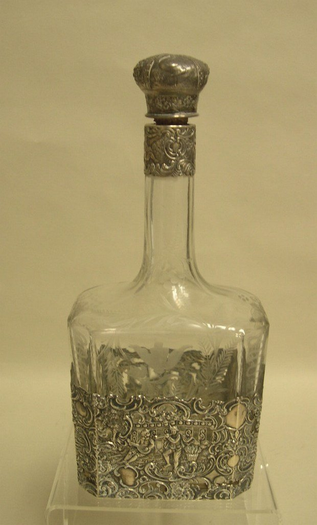 Sterling Silver and etched glass Decanter